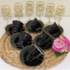 Lale Model Siyah Fincan Takımı 6'lı