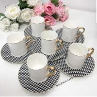 6'lı Kazayak Beyaz Kahve Fincan Takımı