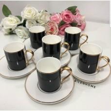 6'lı Siyah-Beyaz Kahve Fincan Takımı